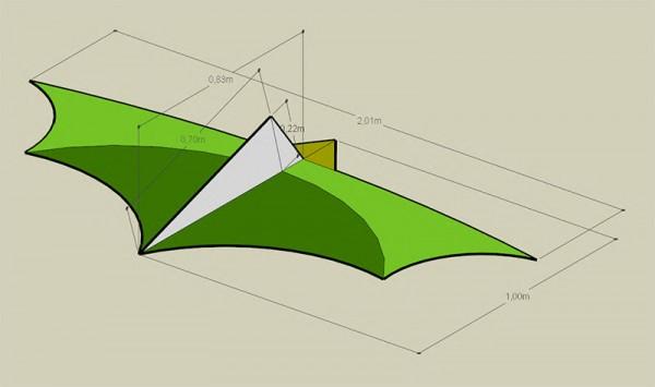 yarasa uçurtma için alternatif keel - denge yerleşimi